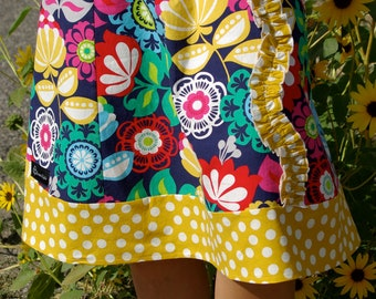 Floral and Mustard Yellow Polka Dot   A line skirt