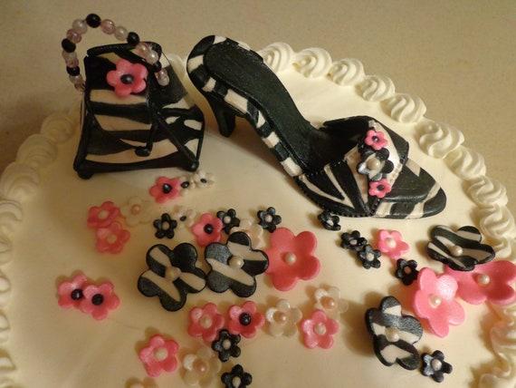 High Heel Ladies Shoe and Handbag Gumpaste, Fondant Cake Topper