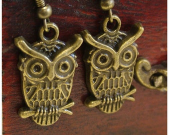 Owl Earrings/ OWL Antiqued Bronze Colored Dangle Earrings by Watto's Wife / Owls / Owl Lover Gift / Gifts for Her / Wise Old Owl