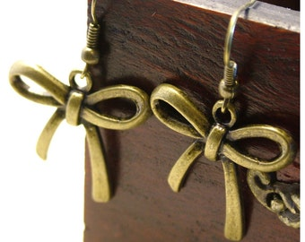 Ribbon Earrings/BOWS Antique Gold Colored Dangle Earrings  by Watto's Wife / Antique Bronze Bows /Gifts For Her/ Kawaii