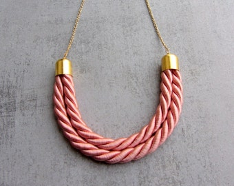 Silk pendant necklace. Thread cord necklace. Gold jewelry