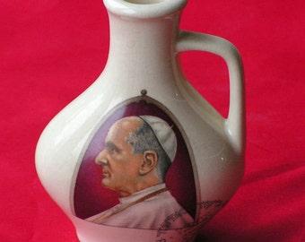 Religious Vase of Pope Paulus VI  -- Vintage vase --Religious