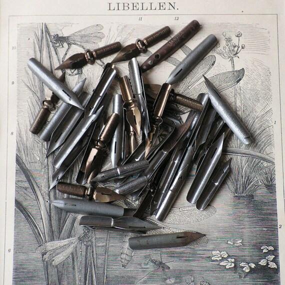 Lot Of Vintage Dip Pens Pen Nibs Calligraphy Drawing