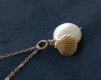 Shell Necklace with Pearl - Beach Necklace - Solid 14K Gold Filled - Seashell - Beach Jewelry, Classic Jewelry, Bridesmaid Gift