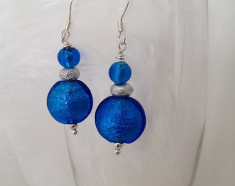 Dangle Earrings in Azure Blue and Silver Art Glass Beads - Mod 60's Inspired with Tropical Color