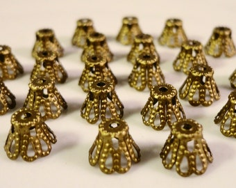 Bronze Bead Caps 5x6mm Antique Brass Metal Filigree Basket Beadcap End Cap Jewelry Making Jewelry Findings Fits Most 5-8mm Beads 100pcs