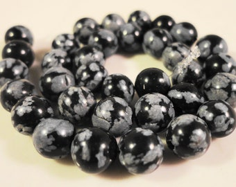 Snowflake Obsidian Beads 6mm Round Black and Grey Natural Gemstone Semiprecious Stone Beads on a 7 1/2 Inch Strand with 30 Beads