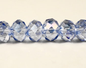 Rondelle Crystal Beads 6x4mm (4x6mm) Medium Periwinkle Blue AB Faceted Chinese Crystal Glass Beads on an 8 Inch Strand with 50 Beads