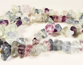 "Fluorite Gemstone Chip Beads 2x4mm to 8x5mm Rainbow Fluorite Chip Beads Multicolor Stone Chip Beads on a Full 16"" Strand with Over 100 Beads"