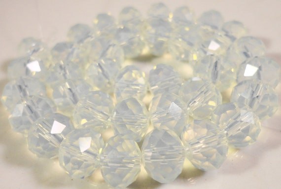 Opalite Glass Rondelle Beads 8x6mm (6x8mm) Faux Moonstone Opal Faceted Glass Abacus Beads on an 8 1/4 Inch Strand with 35 Beads