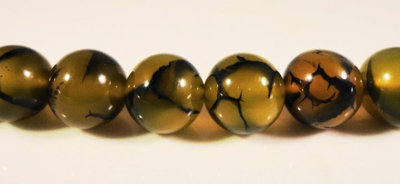 Dragons Vein Agate Beads 10mm Round Yellow and Black Cracked Fire Agate Beads, Gemstone Beads, Stone Beads on a 7 Inch Strand with 18 Beads