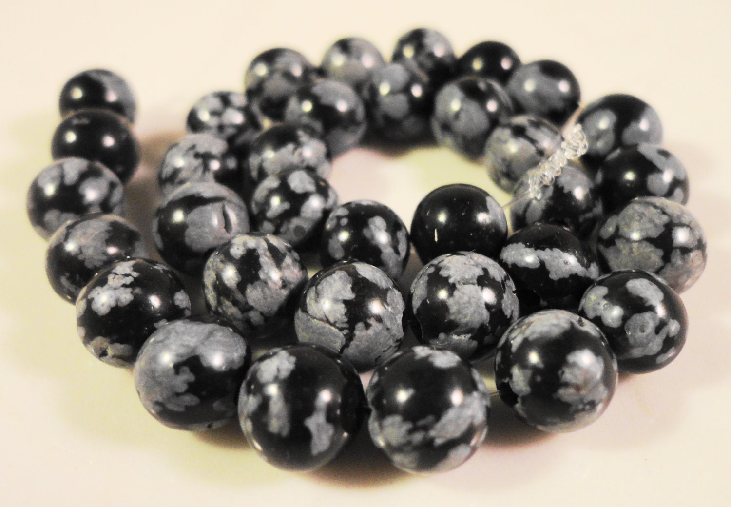 snowflake obsidian 6mm black and grey
