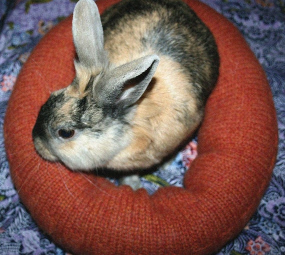 Ugli Donut bunny rabbit bed for a small sized bunny hand knit heathered wool