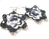 White and Blue Snowflakes Crochet Earrings, Women Accessories, Crochet Jewelry