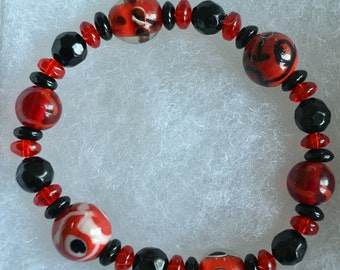 Red Black Lampwork Bracelet