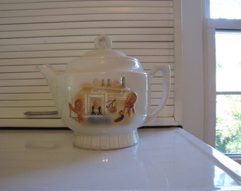 Vintage Americana Teapot Cottage Chic Early American Decor