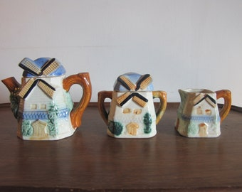 Vintage Windmill Cottage Tea Pot with Sugar Creamer Set