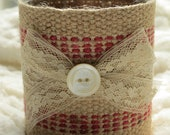 Burlap candle holder