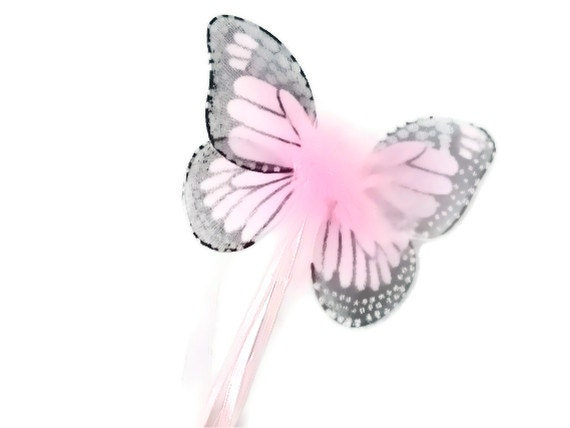 Pink Monarch Butterfly Hand Glittered Ribbon Wand Party Favor Toy Costume Dressup Piece