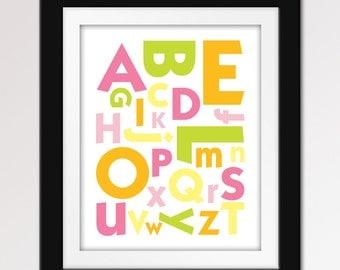 Alphabet ABC Print. ABC Nursery Art. - 8x10 Nursery Print