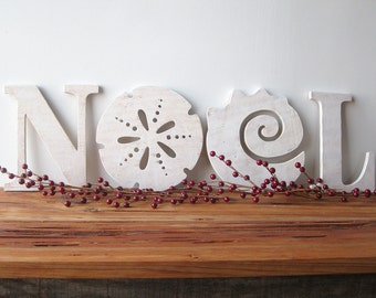 NOEL, Christmas decoration, beach, coastal, word sign, cottage, shabby chic, sand dollar, seashell