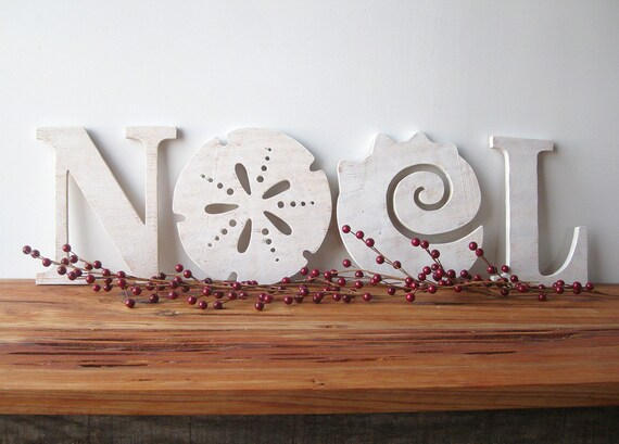 NOEL, Christmas decoration, beach, coastal, word sign, cottage, shabby chic