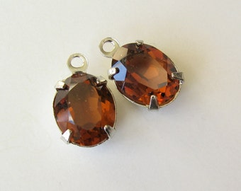 2 smoked topaz brown swarovski oval crystals silver tone with rIng 10x8mm