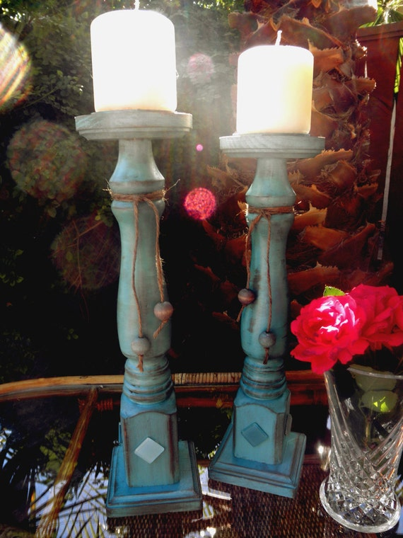 Wood Candle Holders, Pair, painted, distressed in aqua with mosaic tiles.