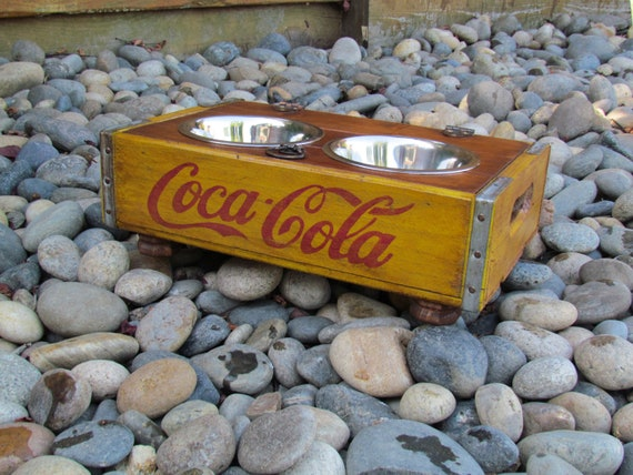 Coca Cola wood Crate Dog or cat Bowl Feeder custom to your pets needs
