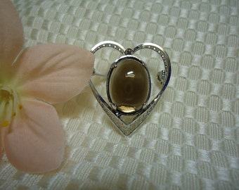 Oval Cabochon Smoky Quartz Brooch in Sterling Silver