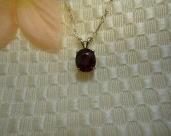 Oval Spessartite Garnet Necklace in Sterling Silver
