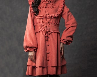 Vintage Style Ruffle Coat with Marie Antoinette Collar - Victorian French Design Winter  Wool Coat - (C790)