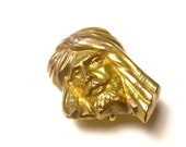 10k Yellow Gold and Mine Cut Diamond 1880's Watch Fob Pendant