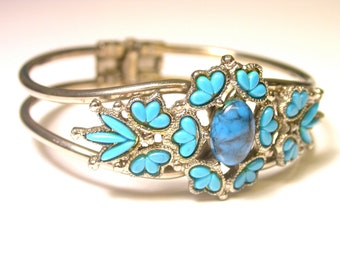 Mock Silver and Turquoise Costume Clip-On Cuff Bracelet - REDUCED