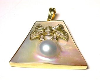 14k Yellow Gold Diamonds Pearl Blister Large Enhancer Pendant - Weight 14.7 Grams # 977