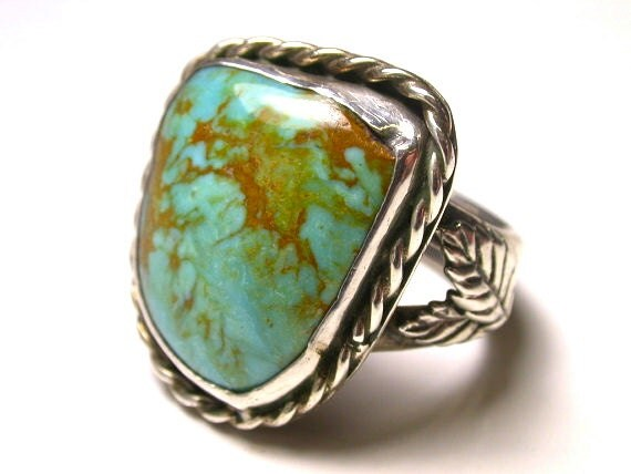 Reserved Sterling Silver and Turquoise large Ring - Size 10 1/2 - Weight 15 Grams