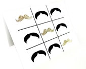 Happy Mother's Day Sale  - Holiday Sale - Handmade Black and Gold Glitter Tic-Tac- Toe Mustaches Happy Birthday Blank Card (Get 10% OFF)
