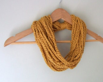 Organic Cotton Scarf . Chain Scarf Necklace . Organic Clothing . Cotton Scarf . Burnt Orange Scarf . Mustard Scarf