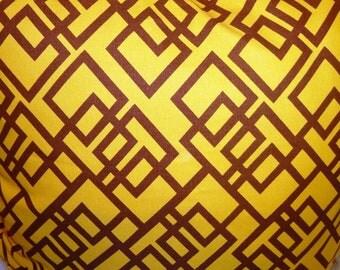 "Designer Outdoor Pillow Cover 26""x26""Geometric patterns,Yellow,brown.Designer Pillow - Decorative Pillow - Throw Pillow"