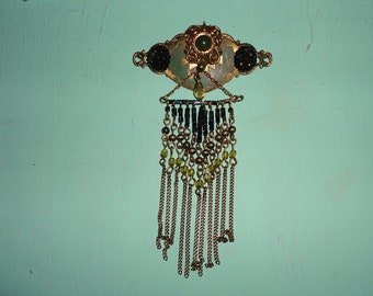 funky brooch with beaded chains
