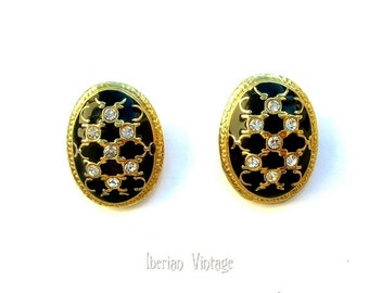 Large Cloisonne Earrings, Clip-on, 80s, Rhinestones, Black Enamel, Gold Tone