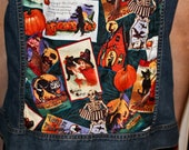 SALE Spooky Halloween Trick Or Treat Custom Studded Denim Vest HOLIDAY SPECIAL