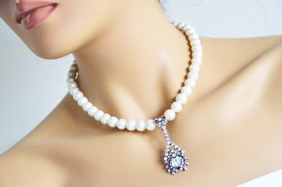 art deco clear crystal swarovski rhinestone tibetan silver plated ivory glass pearl necklace wedding bridal jewelry bridesmaids jewelry gift