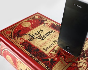 Jules Verne Dock Red/Gold Leather iPhone 6, iPhone 5S, iPhone 5C, iPhone 5 Docking Station Desk Accessory - Adventure Lover