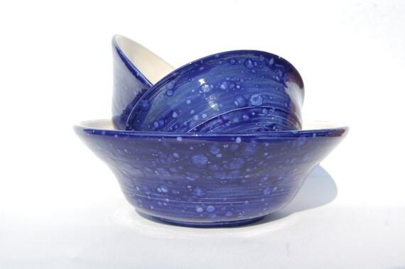 Dark Blue Bowl, Kitchen Ware, Ideal for Fruit or Salads, Wedding Gift