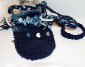 Blue Variegated Crochet Water Bottle Sling - Holder, Carrier, Heart Beads