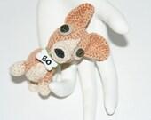 ODD PETS - Baby BO  - Hand Crochet Corgi: Vintage Button Eyes, Puppy