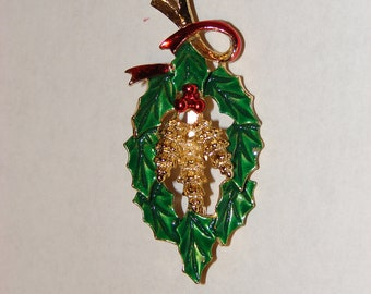 Vintage Enameled Christmas Holly Pinecone Brooch, Pin by Jerry's or Gerry's, holiday gift, womans accessories, gifts for her, jewelry gifts