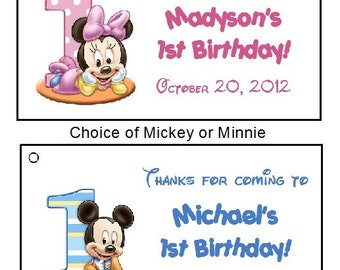 20 Personalized Baby Mickey or Baby Minnie 1st Birthday Favor Tags