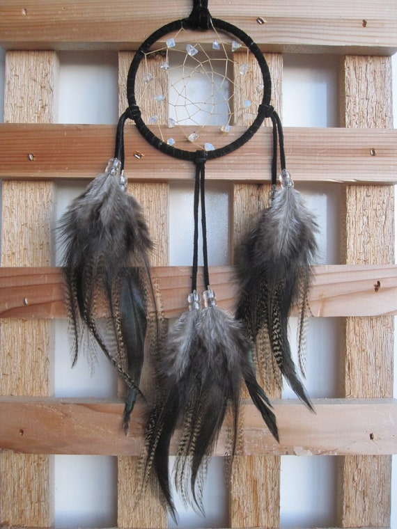 Black Suede Dream Catcher with Rooster Feathers